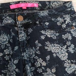 Tinseltown Jeans - Floral Denim Couture Blue Jeans